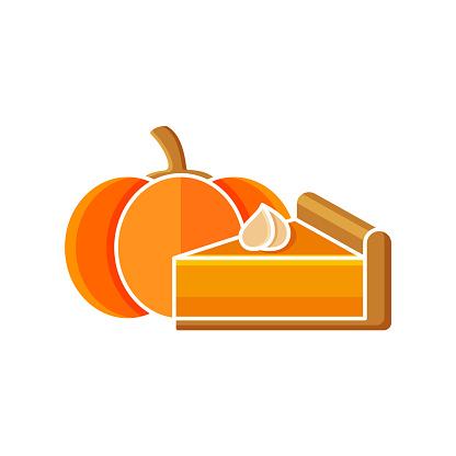 Cartoon piece of pumpkin pie with whipped cream