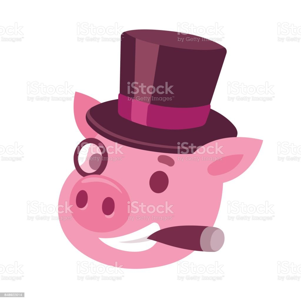 Cartoon pig capitalist vector art illustration