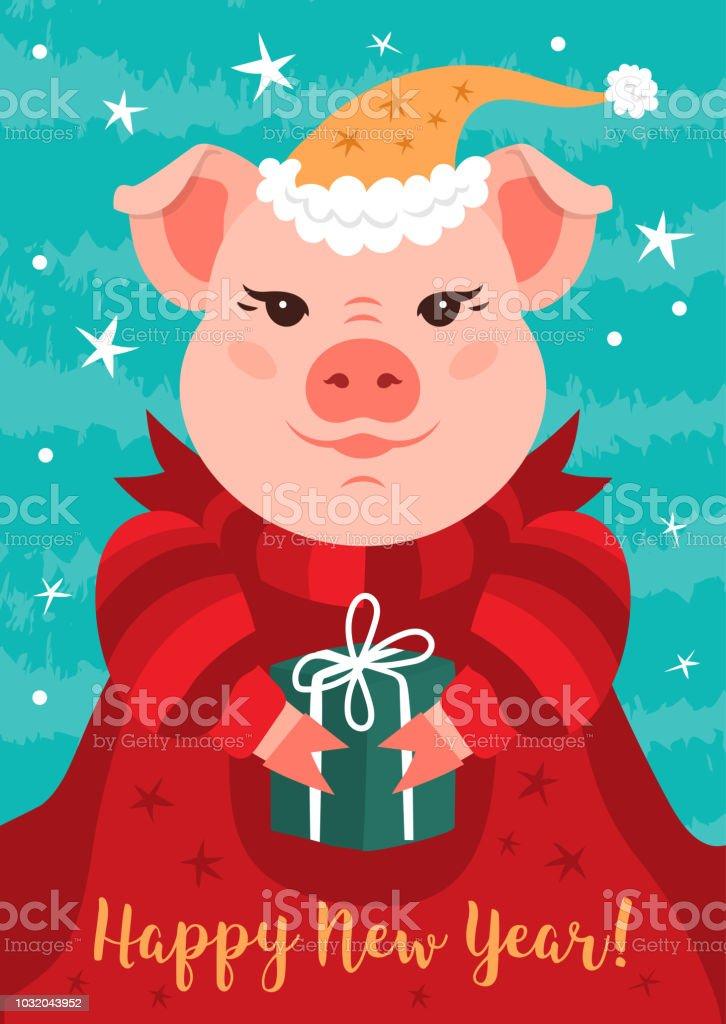 Amante Carte De Voeux De Cochon Joyeux Nouvel An 2019 En Dessin Animé #CC_32