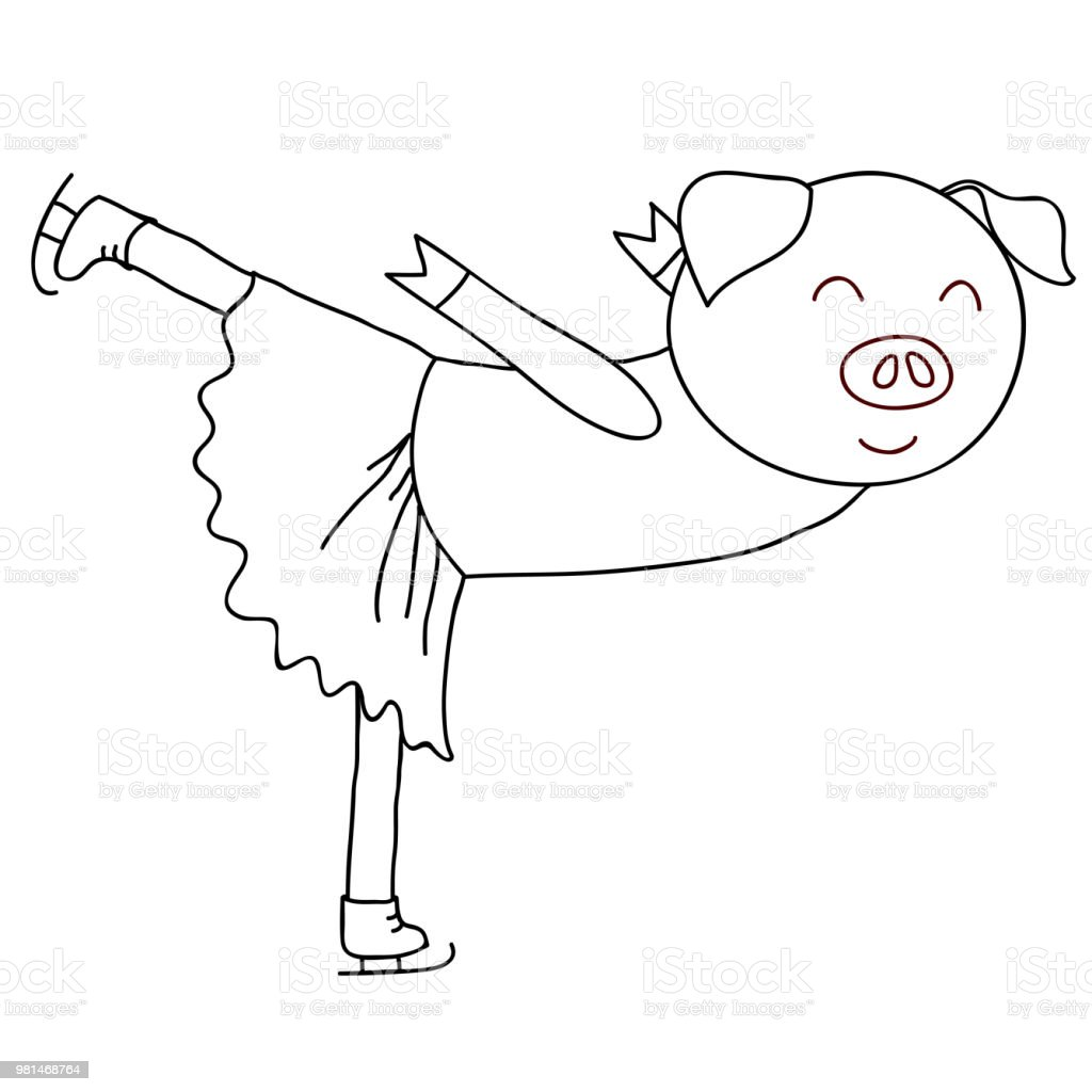 Coloriage Tete De Cochon.Coloriage De Patineur Cochon Dessin Anime Vecteurs Libres De Droits