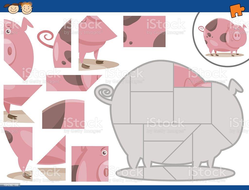カットイラスト豚のジグソーパズルタスク - 2015年のベクターアート素材