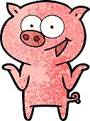 cartoon pig with no worries