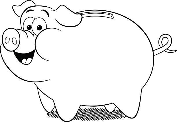Top 60 Black And White Cartoon Piggy Bank Clip Art Vector Graphics