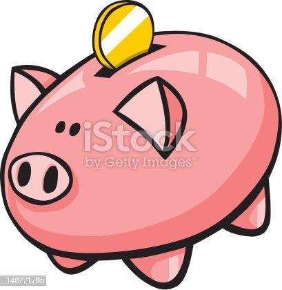 Tirelire cochon dessin anim avec pi ce dor stock vecteur - Tirelire dessin ...