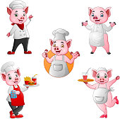 illustration of Cartoon pigs chef collection set