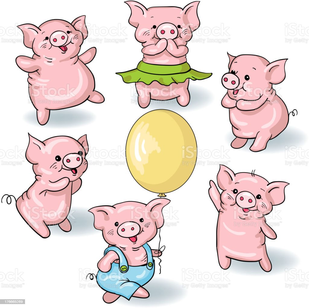 Cartoon pigs royalty-free cartoon pigs stock vector art & more images of animal