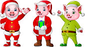 illustration of Cartoon pigs wearing Christmas costumes