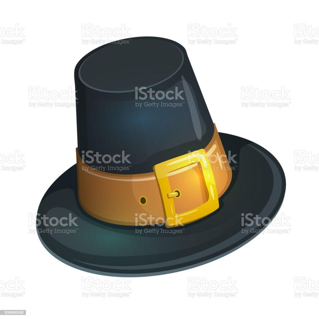 Cartoon pilgrim hat vector art illustration