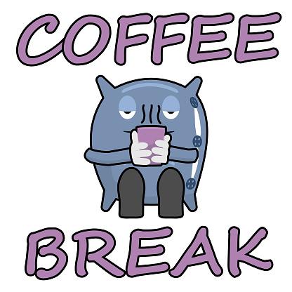 Cartoon pillow holding a mug of hot coffee.