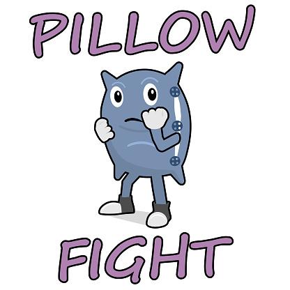 Cartoon pillow in boxing rack.