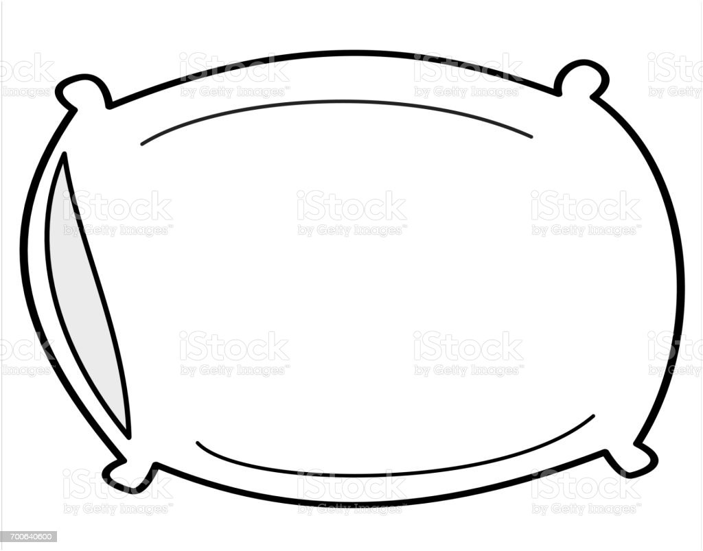 Cartoon Pillow Isolated On White Background Vector Illustration ... for Pillow Cartoon Black And White  173lyp