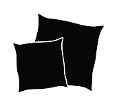 cartoon pillow silhouette, outline vector symbol icon design.