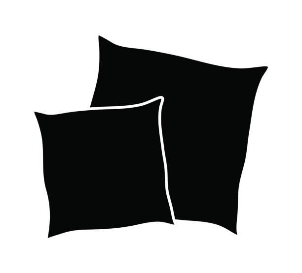 cartoon pillow silhouette, outline vector symbol icon design. vector art illustration