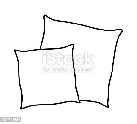 Cartoon Pillow Silhouette Outline Vector Symbol Icon
