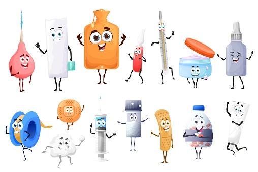 Cartoon pills, drugs and medicament characters set