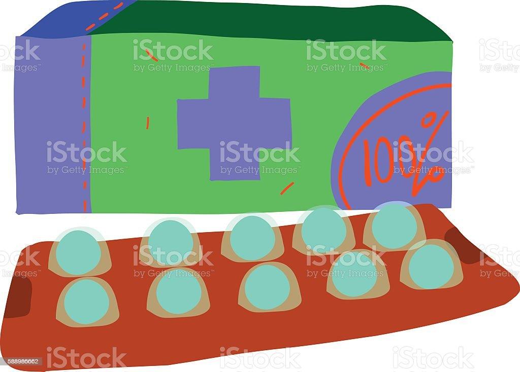 Cartoon pills icon. vector art illustration