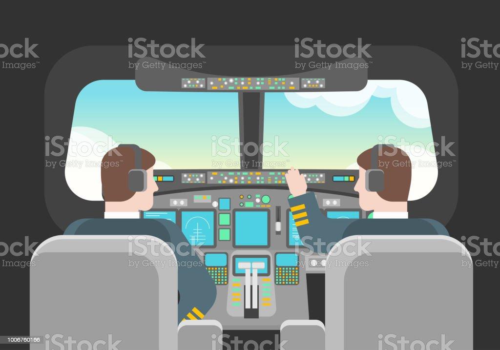 Cartoon Pilots in Cockpit Concept. Vector vector art illustration
