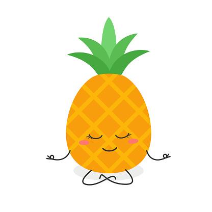 Cartoon pineapple meditation