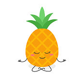 Adorable cartoon pineapple doing yoga in lotus pose. Vector flat illustration isolated on white background