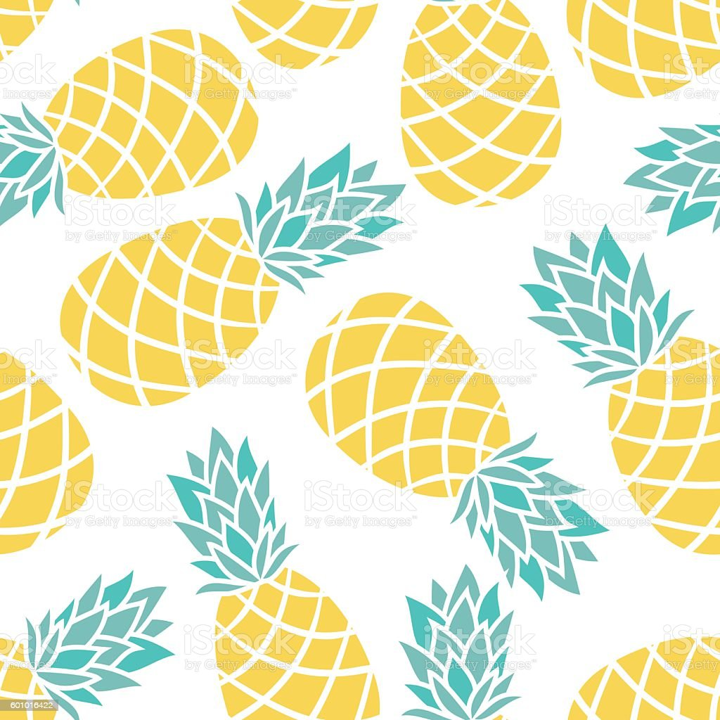 Cartoon pineapple on a white background. – artystyczna grafika wektorowa
