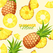 Cartoon pineapple seamless pattern. Summer banner concept. Blue background. Vector illustration.