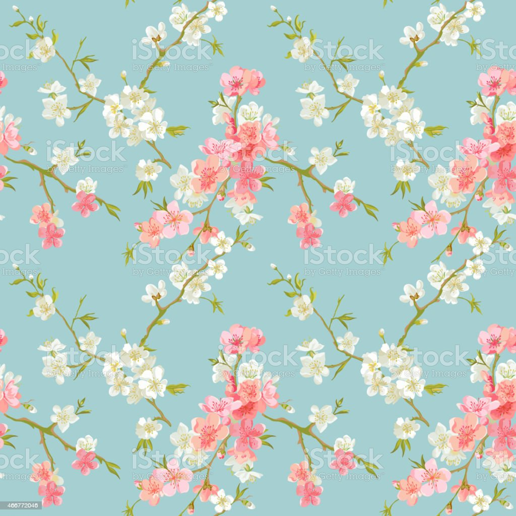 Cartoon pink and white spring blossoms spread throughout vector art illustration