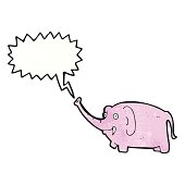 cartoon pink elephant trumpeting