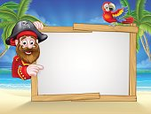 Cartoon friendly pirate on the beach with tropical palm trees, parrot and large blank sign for your text
