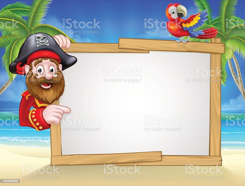 Cartoon Pirate Beach Background vector art illustration