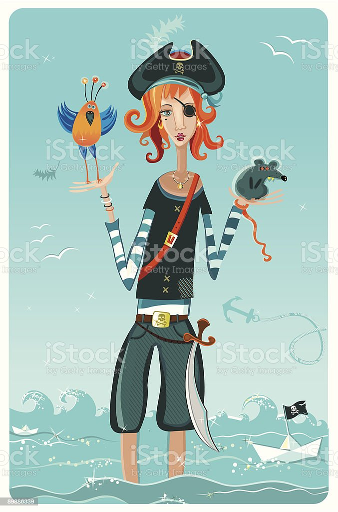 cartoon pirate girl royalty free cartoon pirate girl stockvectorkunst en meer beelden van anker