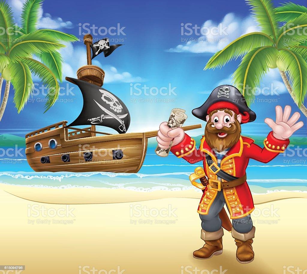 Cartoon Pirate on Beach vector art illustration