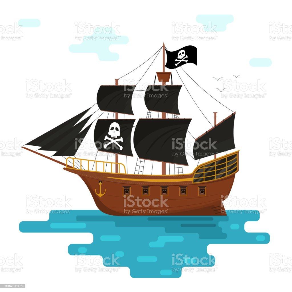 Siyah Yelkenleri Olan çizgi Film Korsan Gemisi Vektör Stok Vektör