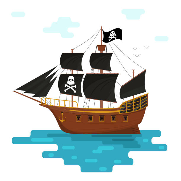 Cartoon Pirate Ship with Black Sails. Vector Cartoon Pirate Ship with Black Sails at Sea or Ocean Scene Concept Element Flat Design Style. Vector illustration pirate ship stock illustrations