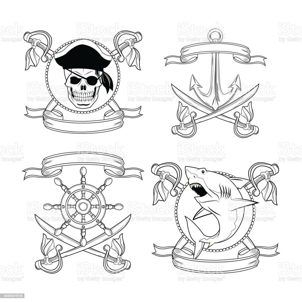 Ilustración de Diseño De Tatuaje De Pirata De Dibujos Animados y más ...