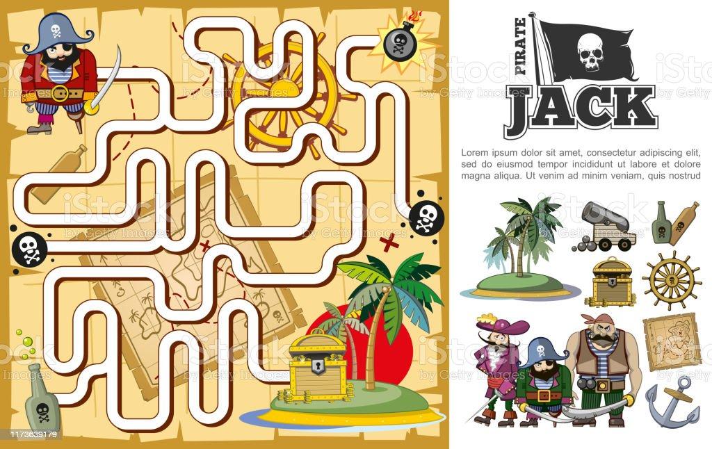 Cartoon pirate treasure hunt maze concept with uninhabited island...