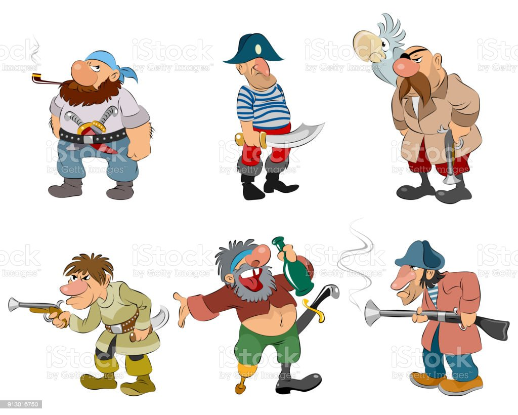 Cartoon pirates and robbers vector art illustration