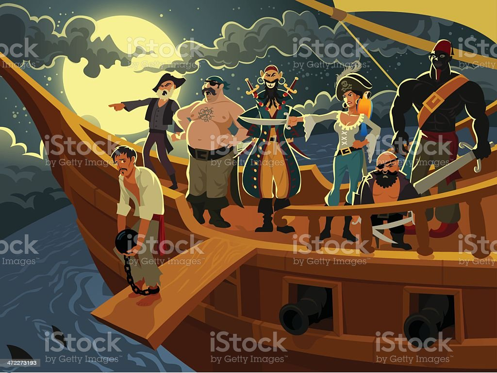 Cartoon Pirates on a Pirate Ship at Night vector art illustration