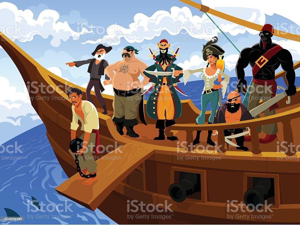 cartoon pirates on pirate ship stock vector art 472273195 istock