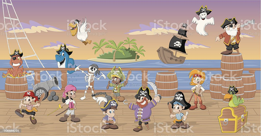 cartoon pirates vector art illustration