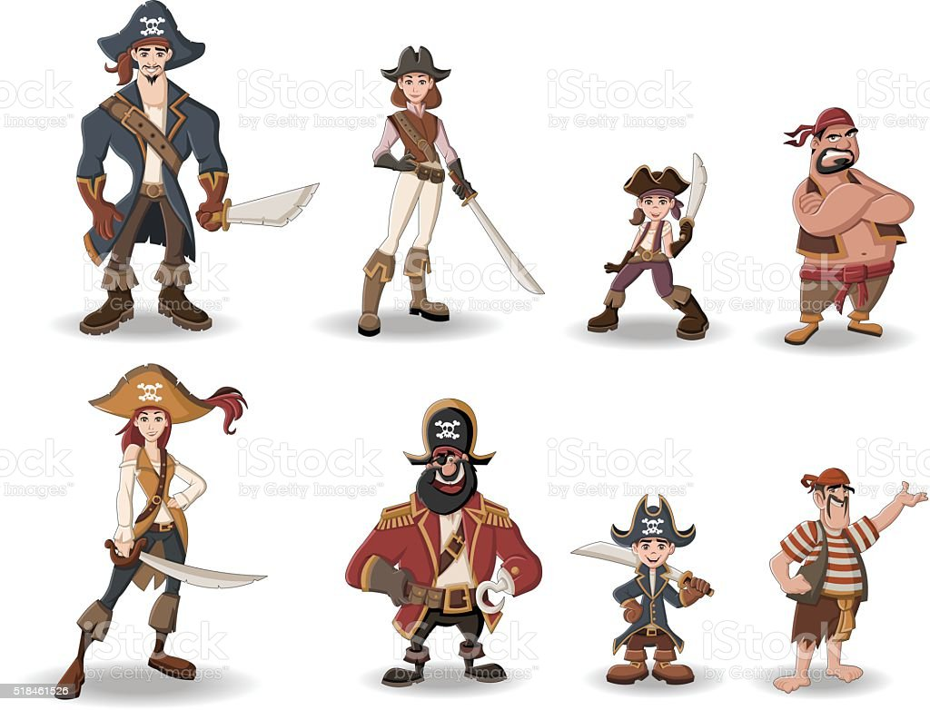 cartoon pirates with swords. vector art illustration