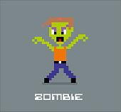 Cartoon pixel zombie
