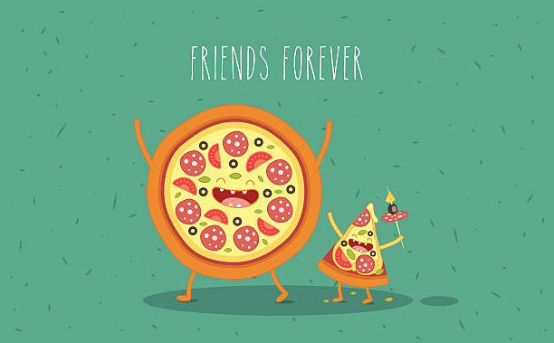 stockillustraties, clipart, cartoons en iconen met a cartoon pizza and a slice of pizza with happy faces - bargerecht