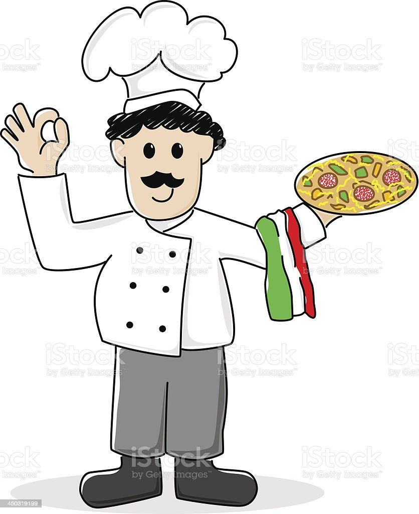 cartoon pizza baker royalty-free stock vector art