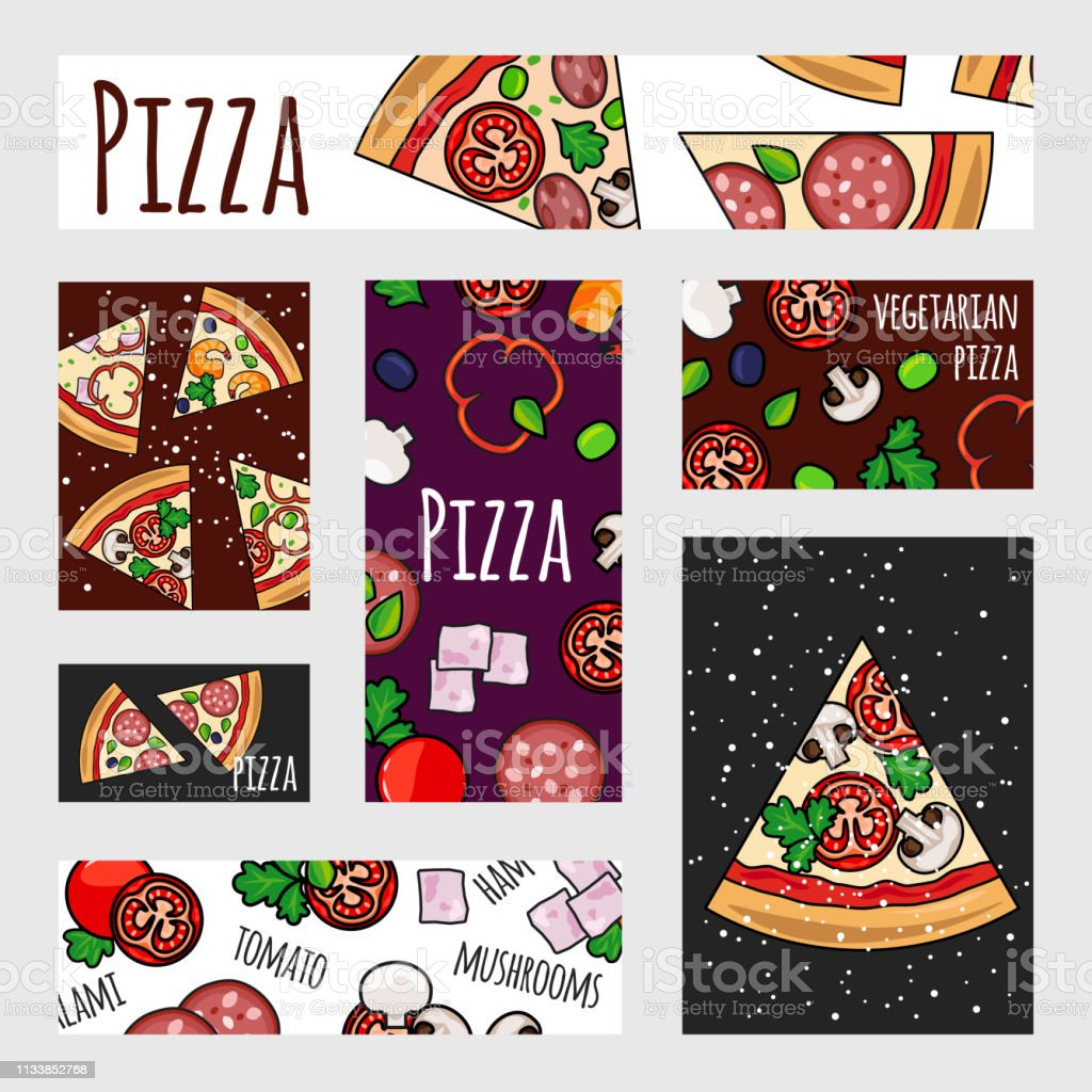 Cartoon pizza banners template. Fast food label, banner, flyer...