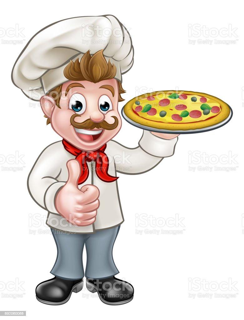 Fish N Chips Cartoon Characters : Dessin animé pizzaiolo personnage mascotte cliparts