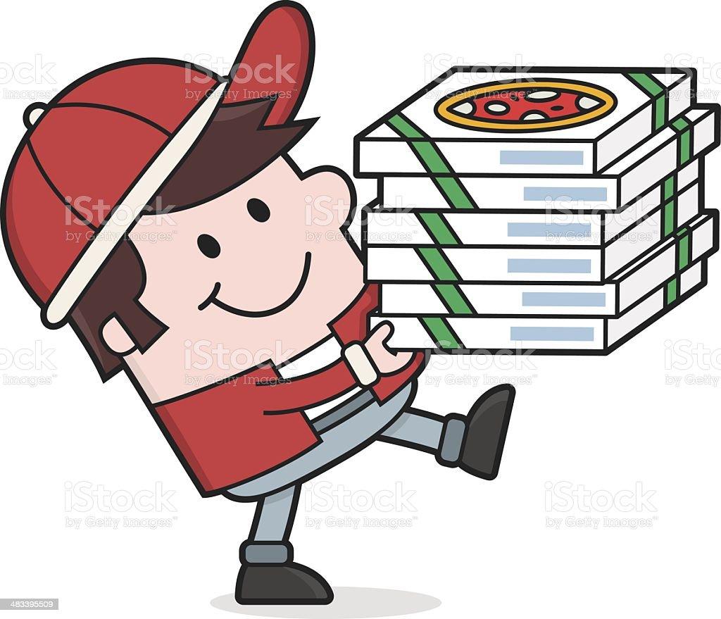 Ilustración de Hombre De Historieta Pizza Ofreceentrega De Comida y ...