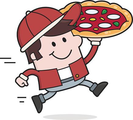Cartoon Pizza Man delivers / Food delivery