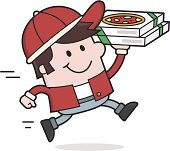illustration of a friendly delivery man. delivers quickly the pizzas.