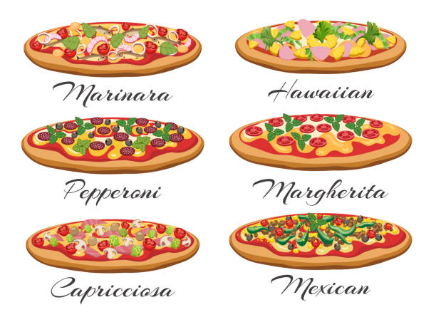 Cartoon pizza set Pizza vector. Cartoon pizza with cheese and tomato like margherita and pepperoni, mexican and italian supreme isolated on white background pastry dough stock illustrations