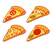 Cartoon pizza slice illustration set. Pepperoni, Hawaiian (pineapple and ham), Margherita (tomato and basil) and vegetarian pizza. Isolated vector clip art collection.
